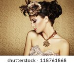 retro portrait of a beautiful... | Shutterstock . vector #118761868