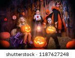 funny children in carnival... | Shutterstock . vector #1187627248