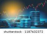 double exposure of graph  ... | Shutterstock . vector #1187632372