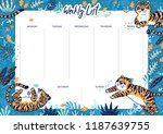 jungle weekly calendar planner... | Shutterstock .eps vector #1187639755