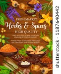 herbs  seasoning and spices.... | Shutterstock .eps vector #1187640442