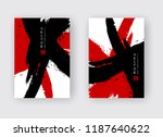 black and red ink brush stroke... | Shutterstock .eps vector #1187640622