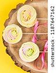three colored round meringues...   Shutterstock . vector #1187647162