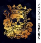 beautiful romantic skull with... | Shutterstock .eps vector #1187648578