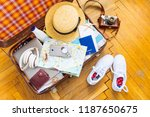 woman staff in suitcase. travel ... | Shutterstock . vector #1187650675