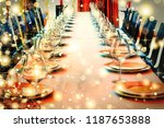 served table in a banquet hall... | Shutterstock . vector #1187653888