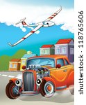 the hot rod and the flying... | Shutterstock . vector #118765606
