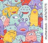 cute monsters crowd seamless... | Shutterstock .eps vector #1187670775