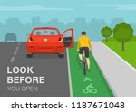 Dangerous situation on bike lane. Passenger opens car door in front of cyclist. Look before you open. Flat vector illustration.