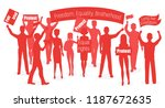 red silhouette of protesters.... | Shutterstock .eps vector #1187672635