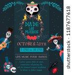 day of the dead festival... | Shutterstock .eps vector #1187677618