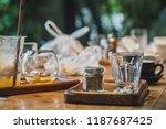 empty of espresso coffee glass... | Shutterstock . vector #1187687425