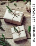 gift boxes on a wooden... | Shutterstock . vector #1187692675