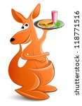 kangaroo with a tray of food.... | Shutterstock .eps vector #118771516