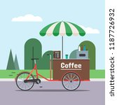coffee bicycle cart with... | Shutterstock .eps vector #1187726932