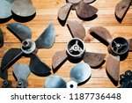 set of boat propellers on the... | Shutterstock . vector #1187736448