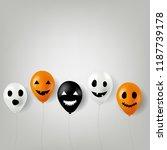 halloween balloons border with... | Shutterstock .eps vector #1187739178