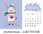 february month 2019 year... | Shutterstock .eps vector #1187755708