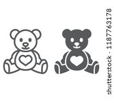 teddy bear line and glyph icon  ... | Shutterstock .eps vector #1187763178