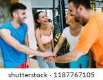 smiling men and women doing... | Shutterstock . vector #1187767105
