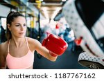 boxing workout woman in fitness ... | Shutterstock . vector #1187767162
