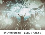 girl praying for good weather... | Shutterstock . vector #1187772658