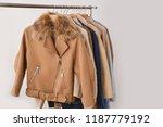 women coat and fur jacket with... | Shutterstock . vector #1187779192