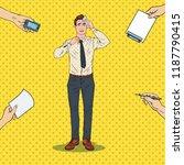 pop art nervous businessman.... | Shutterstock .eps vector #1187790415
