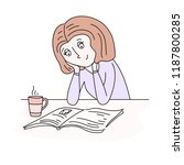 woman reading book or magazine... | Shutterstock .eps vector #1187800285