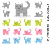 set of colorful cat icons | Shutterstock .eps vector #1187805625