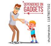 children's gadget dependence... | Shutterstock .eps vector #1187807332