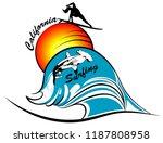 california surfing silhouette | Shutterstock .eps vector #1187808958