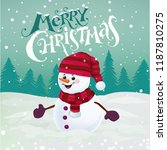 Funny Snowman In Hat  Scarf An...