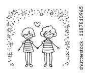 happy teenage gay couple. boys... | Shutterstock .eps vector #1187810965