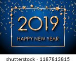 2019 happy new year text for... | Shutterstock .eps vector #1187813815
