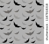 seamless pattern with bats ... | Shutterstock .eps vector #1187818318