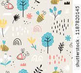 baby seamless pattern with... | Shutterstock .eps vector #1187820145