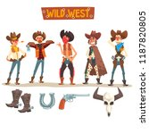 western cowboys set  wild west... | Shutterstock .eps vector #1187820805