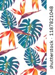tropical bright pattern with... | Shutterstock .eps vector #1187821048