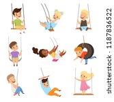 Cute Little Kids Swinging On...