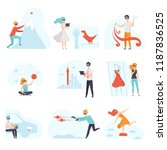 people in virtual reality... | Shutterstock .eps vector #1187836525