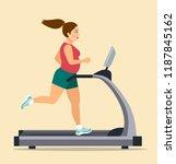 fat girl running on treadmill... | Shutterstock .eps vector #1187845162