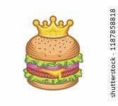 king burger concept vector...   Shutterstock .eps vector #1187858818