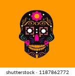 sugar skull wih pink flower... | Shutterstock .eps vector #1187862772
