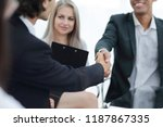 closeup.handshake of business... | Shutterstock . vector #1187867335