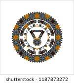 medal icon inside arabic emblem.... | Shutterstock .eps vector #1187873272