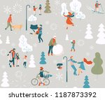 winter poster with happy people ... | Shutterstock .eps vector #1187873392