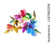colorful flowers. watercolor... | Shutterstock . vector #1187883208