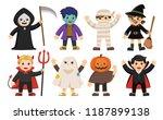 set of happy halloween. funny... | Shutterstock .eps vector #1187899138