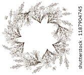 wreath of wild herbal flowers.... | Shutterstock .eps vector #1187904745
